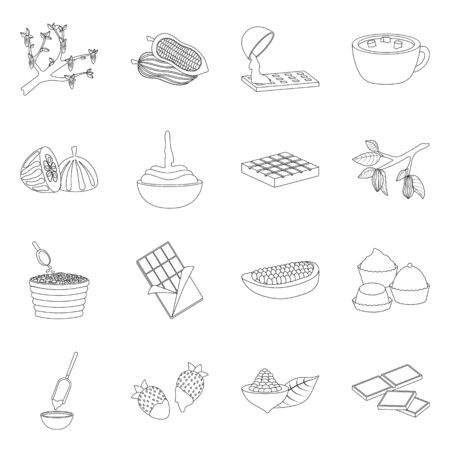Vector illustration of cocoa and beans logo. Set of cocoa and sweetness vector icon for stock.