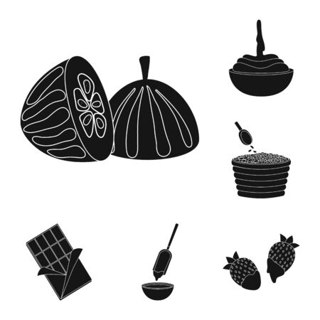 Isolated object of cooking and brown sign. Set of cooking and beans stock vector illustration. Ilustrace