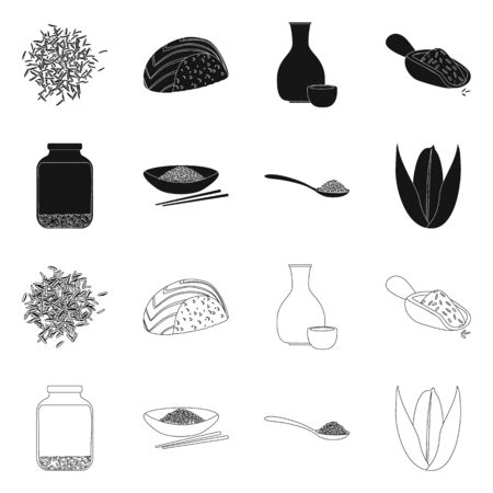 Vector design of crop and ecological sign. Set of crop and cooking vector icon for stock. Illusztráció