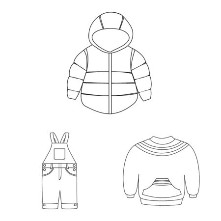 Isolated object of wear and child sign. Set of wear and apparel vector icon for stock. Çizim