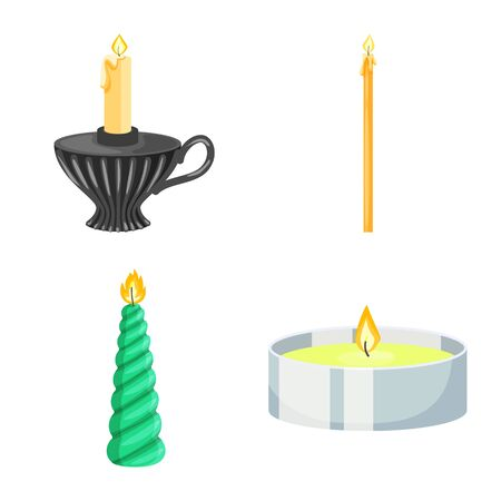 Vector design of light and wax symbol. Set of light and ceremony stock vector illustration.