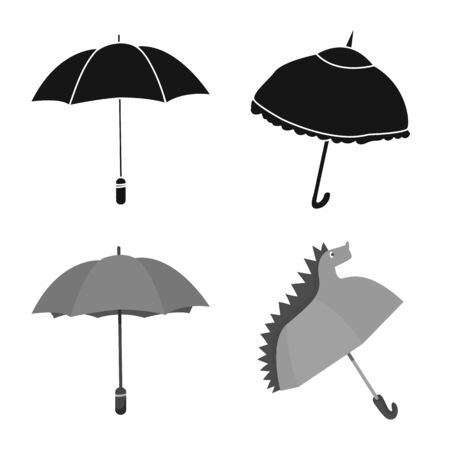 Vector illustration of protection and closed . Collection of protection and rainy vector icon for stock. Çizim