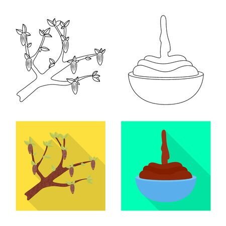 Vector design of food and yummy symbol. Set of food and brown stock vector illustration.