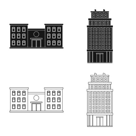 Vector illustration of municipal and center . Set of municipal and estate vector icon for stock.