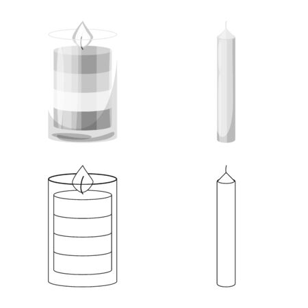 Vector illustration of relaxation and flame . Collection of relaxation and wax stock symbol for web.