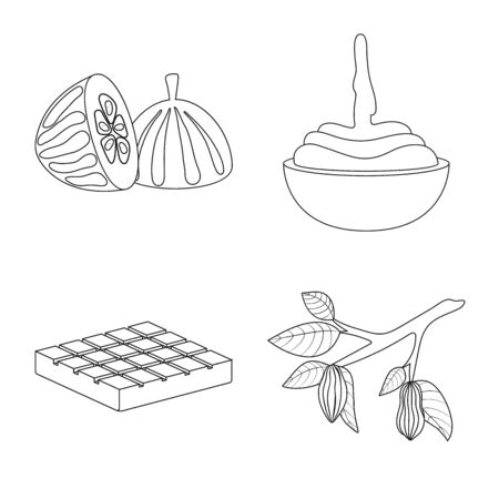 Vector design of cocoa and beans icon. Collection of cocoa and sweetness stock vector illustration.