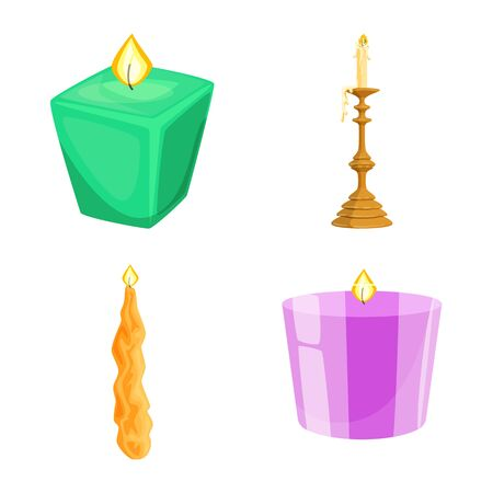 Vector illustration of light and wax icon. Set of light and ceremony vector icon for stock.