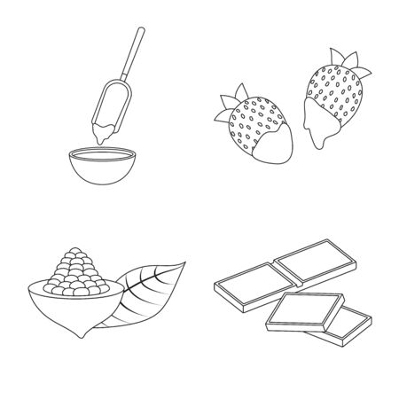 Isolated object of cocoa and beans . Set of cocoa and sweetness stock vector illustration.