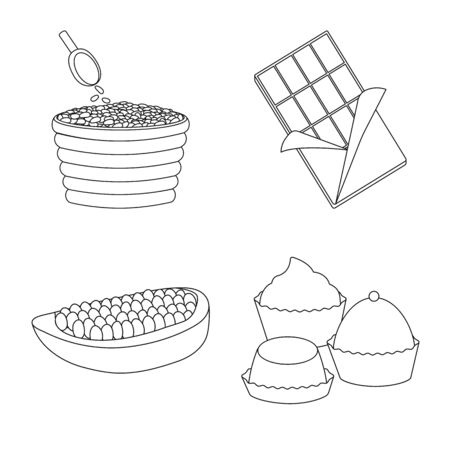 Vector design of cocoa and beans . Collection of cocoa and sweetness vector icon for stock.