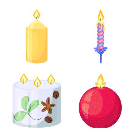 Vector design of light and wax icon. Collection of light and ceremony stock symbol for web.