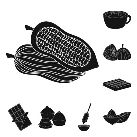 Isolated object of cooking and brown . Collection of cooking and beans stock vector illustration. Illustration