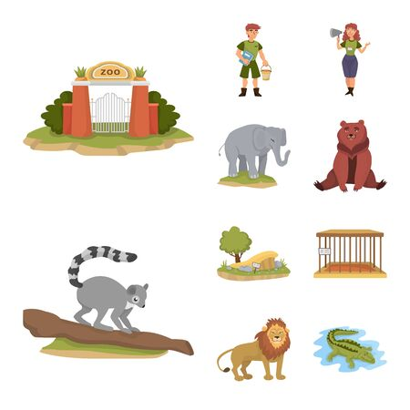 Vector design of zoo and park sign. Collection of zoo and animal stock symbol for web.