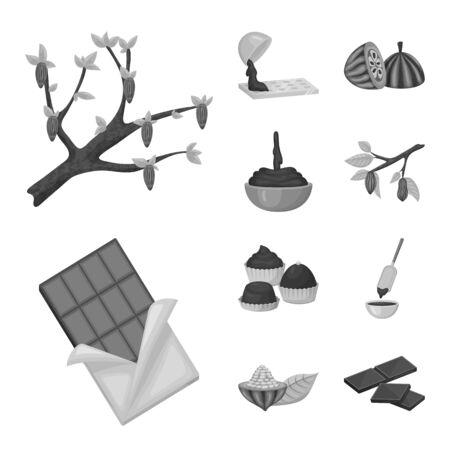 Vector illustration of dessert and sweetness icon. Set of dessert and product vector icon for stock.