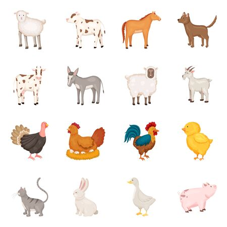 Isolated object of farm and food icon. Collection of farm and countryside stock vector illustration. Foto de archivo - 134615636