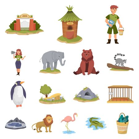 Vector design of zoo and park symbol. Set of zoo and animal stock vector illustration.