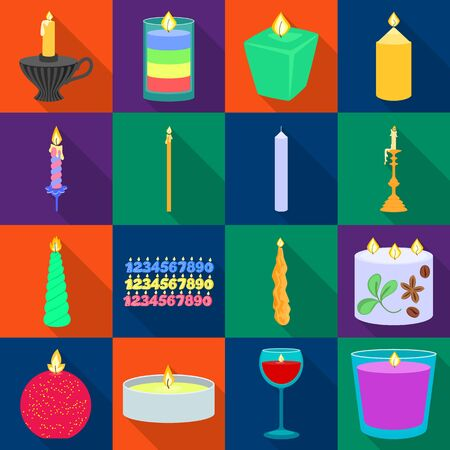 Vector illustration of candlelight and decoration icon. Collection of candlelight and flame stock symbol for web.