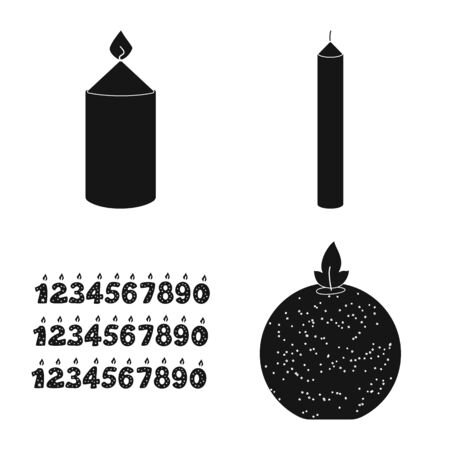 Isolated object of candlelight and decoration sign. Set of candlelight and wax stock symbol for web. Illusztráció