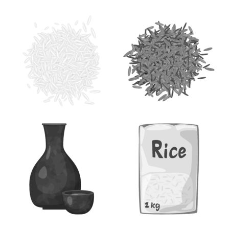 Isolated object of food and organic sign. Set of food and agricultural vector icon for stock. Foto de archivo - 134595652