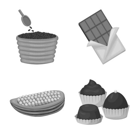 Isolated object of dessert and sweetness icon. Collection of dessert and product stock vector illustration.