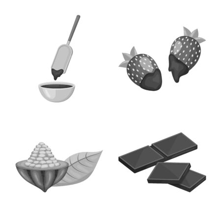 Isolated object of dessert and sweetness sign. Set of dessert and product vector icon for stock.