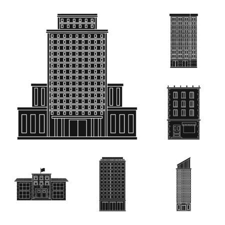 Vektordesign der modernen und Immobilienikone. Sammlung moderner und Gebäudevektorillustration. Vektorgrafik