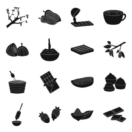 Vector design of cooking and brown symbol. Set of cooking and beans vector icon for stock. Foto de archivo - 134601485