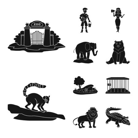 Vector illustration of fauna and entertainment icon. Set of fauna and park stock symbol for web.