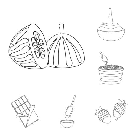 Vector illustration of cocoa and beans logo. Set of cocoa and sweetness stock symbol for web.