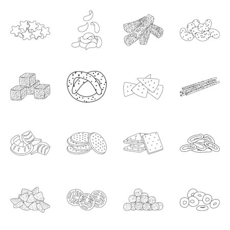 Vector design of product and menu logo. Set of product and flavor vector icon for stock.