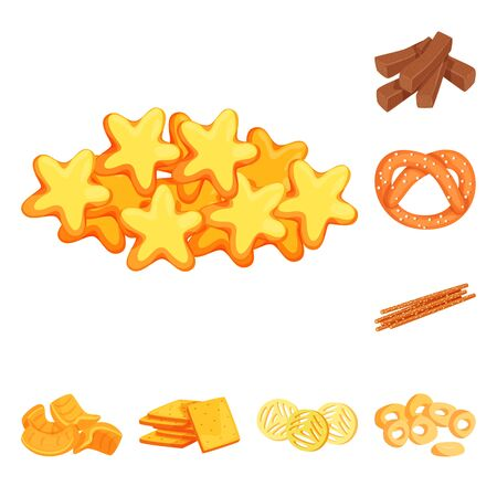 Vector design of food and crunchy logo. Collection of food and flavor stock symbol for web.