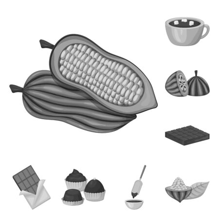 Isolated object of dessert and sweetness icon. Set of dessert and product vector icon for stock. Illustration