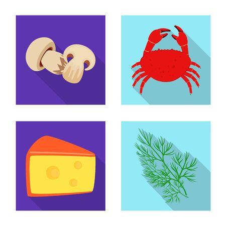 Vector design of taste and product sign. Set of taste and cooking stock vector illustration. Векторная Иллюстрация