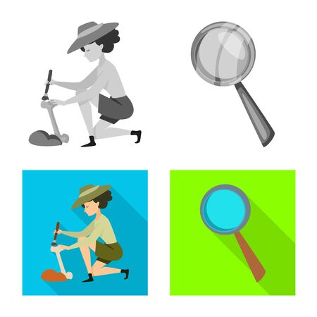 Vector illustration of story and items icon. Collection of story and attributes stock vector illustration. 向量圖像