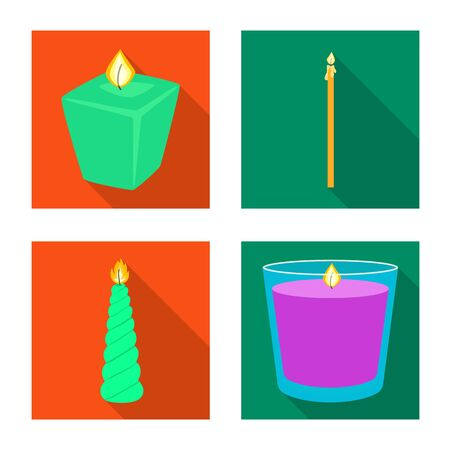Vector illustration of candlelight and decoration icon. Set of candlelight and flame stock symbol for web.
