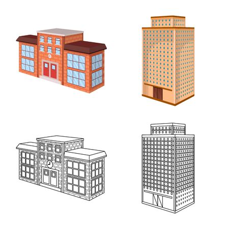 Vector illustration of construction and building icon. Set of construction and estate stock vector illustration. Ilustrace