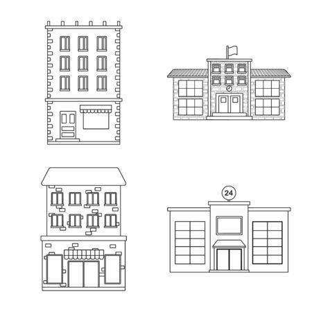 Vector illustration of architecture and exterior symbol. Set of architecture and city stock vector illustration.