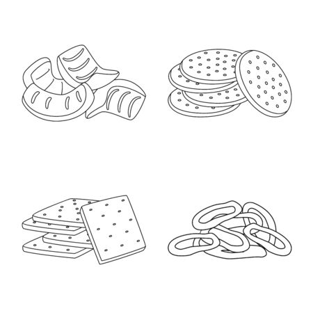 Isolated object of product and menu icon. Collection of product and flavor stock vector illustration.