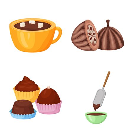Vector design of cocoa and beans symbol. Set of cocoa and sweetness vector icon for stock.