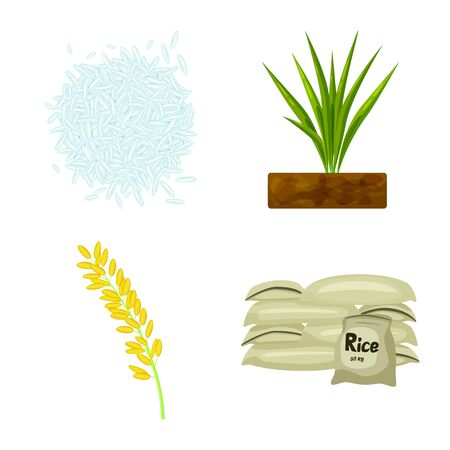 Vector design of food and organic symbol. Set of food and agricultural vector icon for stock. Illustration