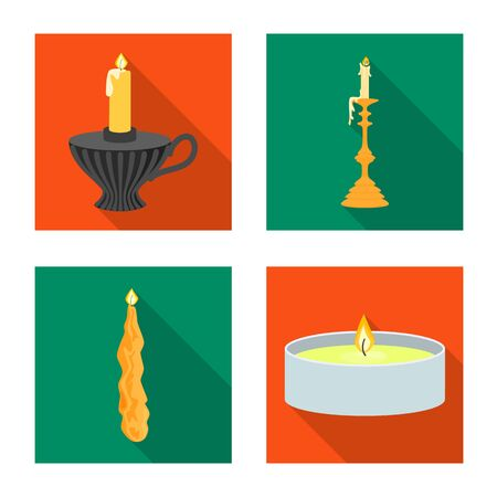 Isolated object of candlelight and decoration logo. Collection of candlelight and flame stock vector illustration. Ilustracja