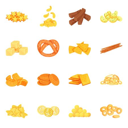 Vector illustration of food and crunchy logo. Set of food and flavor stock symbol for web.