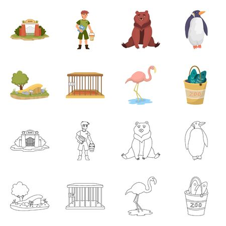 Isolated object of nature and fun symbol. Set of nature and entertainment stock vector illustration.  イラスト・ベクター素材