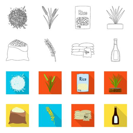 Vector illustration of crop and ecological icon. Set of crop and cooking stock vector illustration.