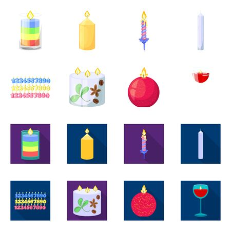 Vector design of relaxation and flame icon. Set of relaxation and wax stock symbol for web.