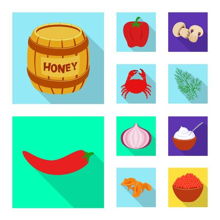Isolated object of taste and product icon. Collection of taste and cooking stock vector illustration.