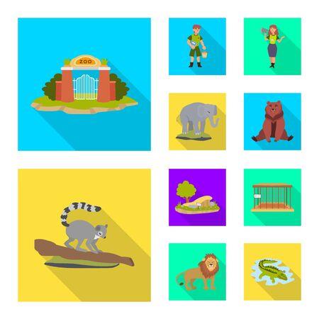 Vector illustration of safari and animal symbol. Set of safari and fun stock symbol for web.