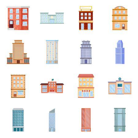 Vector illustration of facade and building logo. Set of facade and exterior vector icon for stock.