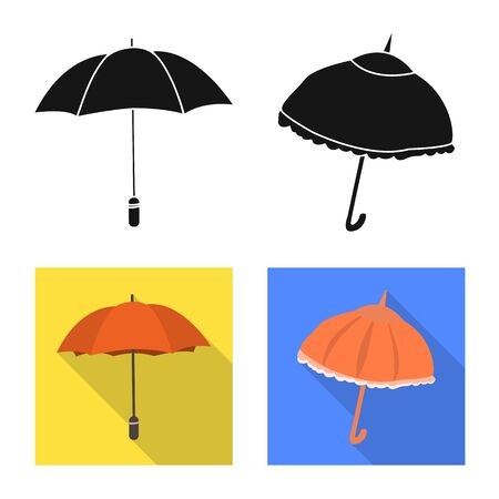 Isolated object of protection and closed . Collection of protection and rainy vector icon for stock.
