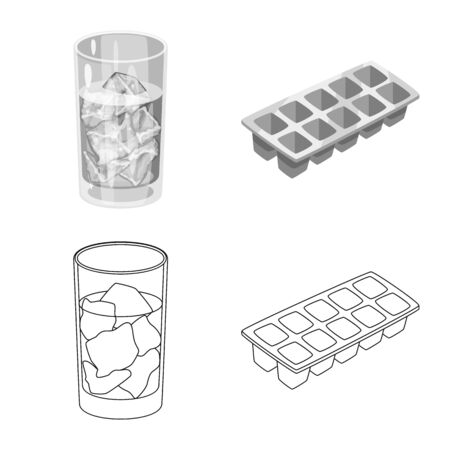Vector design of texture and frozen icon. Collection of texture and transparent stock vector illustration. Ilustração