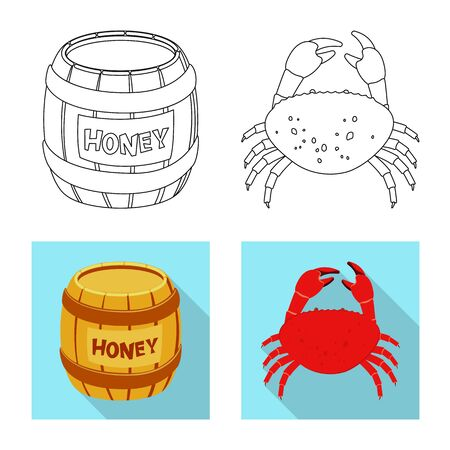 Vector illustration of taste and product icon. Set of taste and cooking stock symbol for web.
